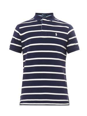 Custom-fit striped polo-shirt
