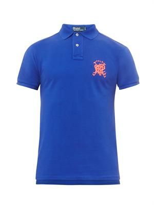 Slim-fit crossed mallet polo shirt