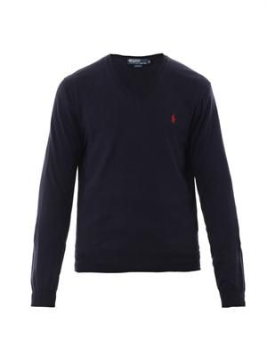 Slim-fit V-neck cotton sweater