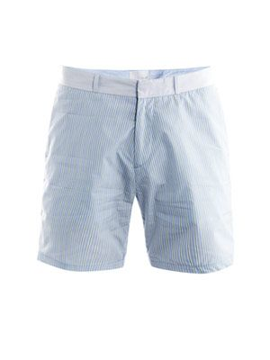 Bold-stripe cotton shorts