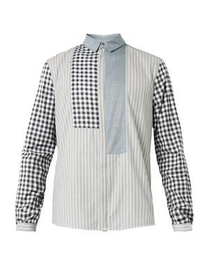 Stripe and check multi-panel shirt