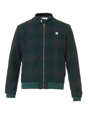 Tartan wool-blend bomber jacket