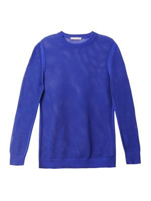 Mesh pointelle sweater