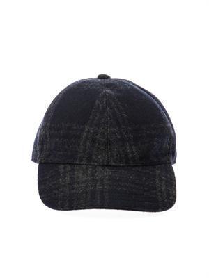 Tartan wool-blend baseball cap