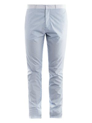 Shirting stripe cotton trousers
