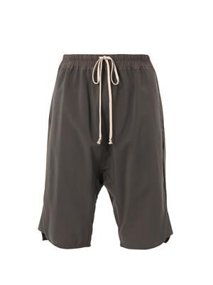 Dropped-crotch drawstring shorts