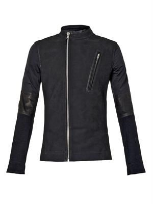 Leather and cashmere biker jacket