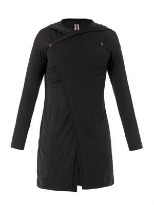 Long-length hooded cardigan