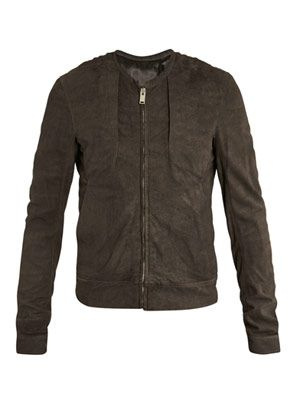 Panelled leather bomber-jacket