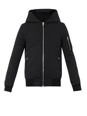 Shearling-hood padded jacket