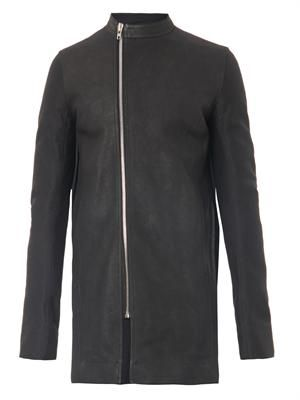 Leather and cotton-canvas coat