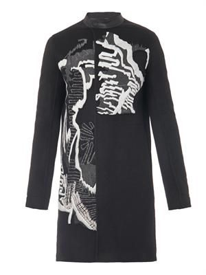 Embroidered cashmere coat