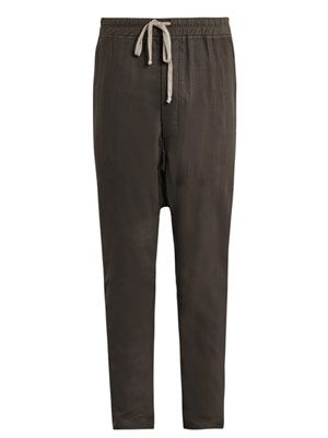 Sheer-wool drawstring harem trousers