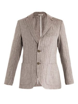 Herringbone single-breasted linen jacket