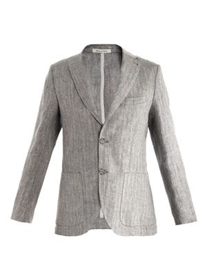 Herringbone single breasted linen jacket