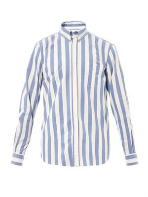 Collegiate stripe-print shirt