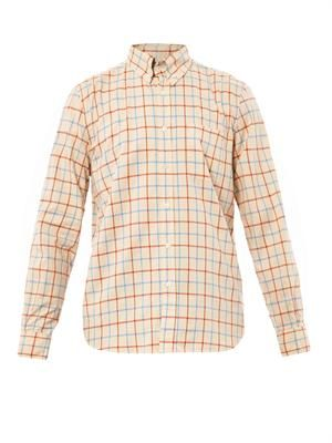 Collegiate grid-print shirt