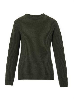 Shetland ribbed wool-knit sweater