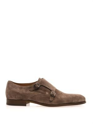 Double monk-strap suede shoes
