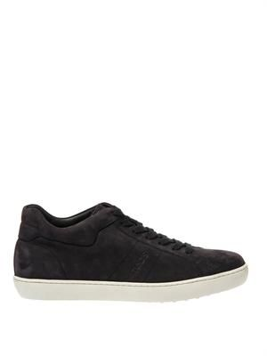 Navy suede low-top trainers