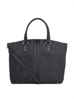 Suede and leather weekend bag