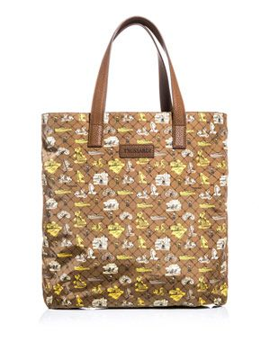Holiday-print tote bag