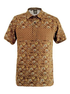 Holiday-print linen polo shirt