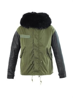 Fur, leather and canvas parka