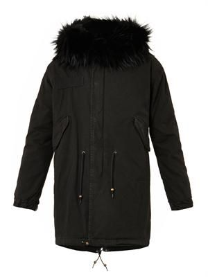 Fur and canvas parka coat