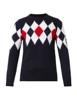 Diamond-intarsia wool-blend sweater
