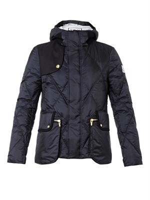 Argyle quilted down jacket