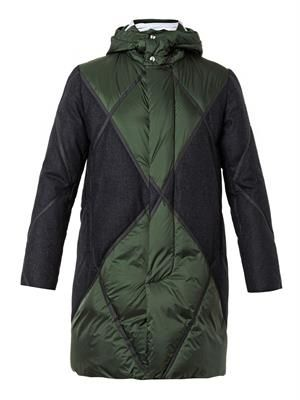 Quilted wool-panel down parka