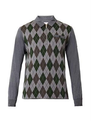 Argyle-intarsia polo shirt