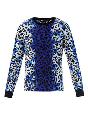 Spray strip leopard-print sweater