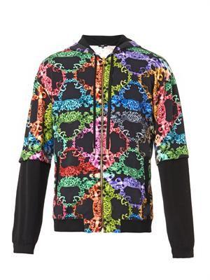 Baroque-print hooded sweatshirt