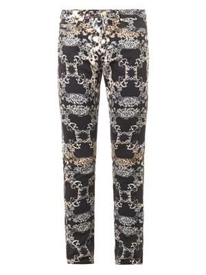 Baroque-print skinny jeans