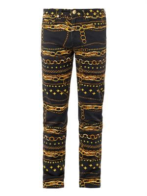 Chain-print stretch-cotton jeans