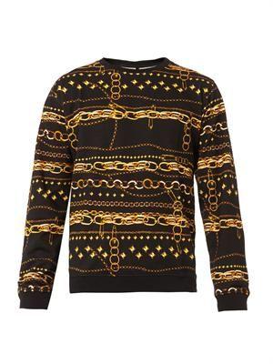 Chain-print cotton-jersey sweatshirt