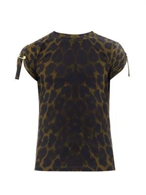Pinned-sleeve animal-print T-shirt