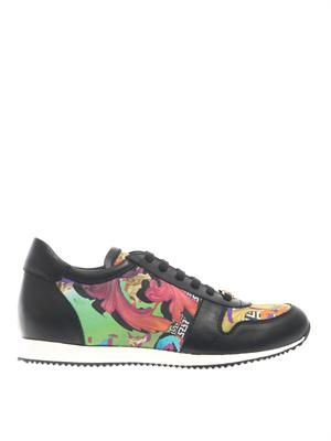 Designer-print leather low-top trainers