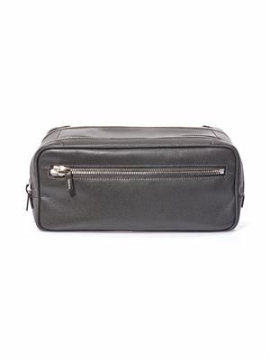 Leather double compartment wash bag