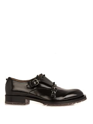 Studded leather monk-strap shoes