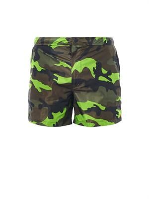 Fluro Pop camo-print swim shorts