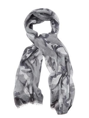 Camouflage-print scarf