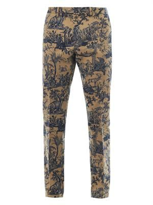 Jungle-print cotton chinos