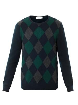 Crew-neck argyle sweater