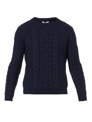 Cable-knit navy virgin-wool sweater