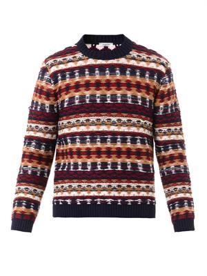 Reverse-knit crew-neck sweater