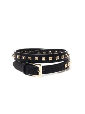 Studded leather wrap-around bracelet