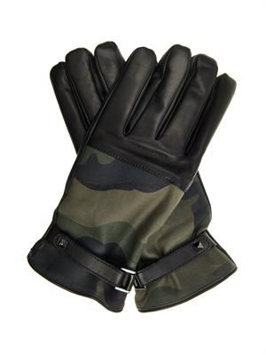 Camo-print canvas and leather gloves